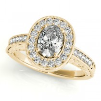 Antique Style Oval Diamond Halo Engagement Ring 14k Yellow Gold 1.50ct