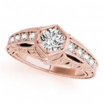 Diamond Antique Style Engagement Ring 18k Rose Gold (0.62ct)