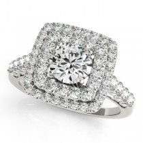 Square Double Diamond Halo Engagement Ring 18k White Gold (2.63ct)