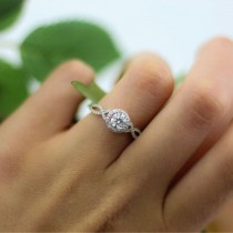 Moissanite Infinity Twisted Halo Engagement Ring 14k White Gold 1.50ct