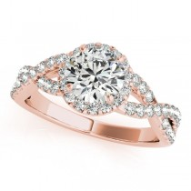 Diamond Infinity Twisted Halo Engagement Ring 18k Rose Gold 1.00ct