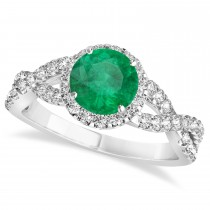 Emerald & Diamond Twisted Engagement Ring 14k White Gold 1.30ct