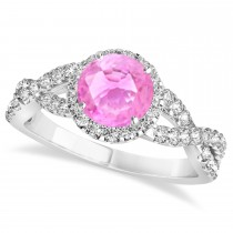 Pink Sapphire & Diamond Twisted Engagement Ring 14k White Gold 1.55ct