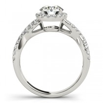 Moissanite Infinity Twisted Halo Engagement Ring 14k White Gold (2.50ct)