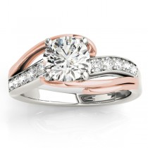 Diamond Bypass Engagement Ring Twisted Setting 14k Rose Gold (0.20ct)