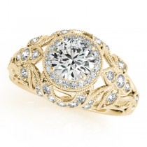 Edwardian Diamond Halo Engagement Ring Floral 14k Yellow Gold 2.00ct