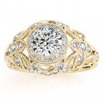Edwardian Diamond Halo Engagement Ring Floral 14k Yellow Gold (0.38ct)