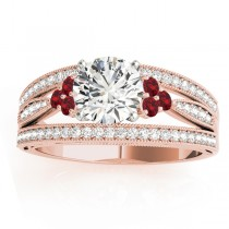 Diamond and Ruby Three Row Engagement Ring 18k Rose Gold (0.42)