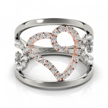 Open Heart Diamond Abstract Band Ring Set in 14k Two Tone Gold 0.39ct