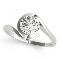 Solitaire Tension Set Diamond Engagement Ring Palladium (0.90ct)