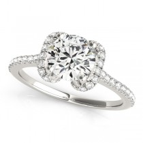 Bow-Inspired Halo Diamond Engagement Ring 18k White Gold (1.33ct)