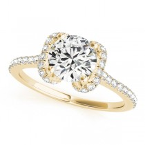 Bow-Inspired Halo Diamond Engagement Ring 18k Yellow Gold (1.33ct)