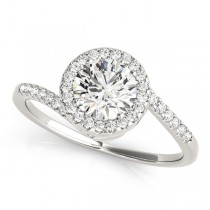 Brilliant Round Bypass Diamond Engagement Ring 14k White Gold (0.70ct)