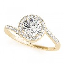 Brilliant Round Bypass Diamond Engagement Ring 18k Yellow Gold (0.70ct)