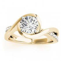 Diamond Bypass Engagement Ring Setting in 18k Yellow Gold (0.13ct)