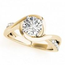 Solitaire Bypass Diamond Engagement Ring 18k Yellow Gold (3.13ct)