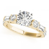Round & Baguette Diamond Engagement Ring 14k Yellow Gold (1.88ct)