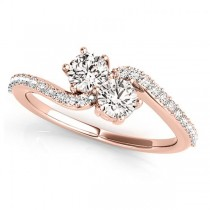 Diamond Accented Twisted Two Stone Ring 14k Rose Gold (1.25ct)