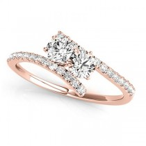 Diamond Tension Style Shank Two Stone Ring 14k Rose Gold (0.75ct)