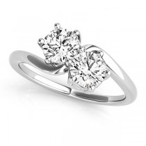 Diamond Solitaire Two Stone Ring 14k White Gold (1.00ct)