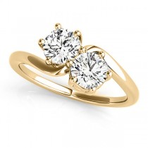 Diamond Solitaire Two Stone Ring 14k Yellow Gold (1.00ct)