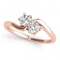 Diamond Solitaire Two Stone Ring 14k Rose Gold (0.50ct)
