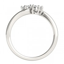 Diamond Solitaire Two Stone Ring 14k White Gold (0.50ct)