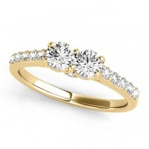 Diamond Two Stone Ring with Pave Sidestones 14k Yellow Gold (1.25ct)