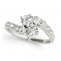 Diamond Accented Contoured Two Stone Ring 14k White Gold (2.00ct)