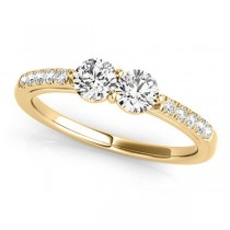 Diamond Accented Cathedral Two Stone Ring 14k Yellow Gold (0.38ct)