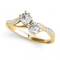 Curved Two Stone Diamond Ring with Accents 14k Yellow Gold (0.36ct)