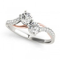 Curved Two Stone Diamond Ring with Accents 18k Two-Tone Gold (0.36ct)