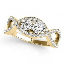 Diamond Twisted Infinity Two Stone Ring 14k Yellow Gold (1.00ct)