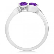Amethyst Diamond Accented Twisted Two Stone Ring 14k White Gold (1.13ct)
