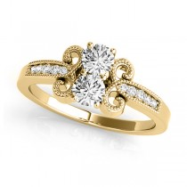 Diamond Butterfly Swirl Two Stone Ring 14k Yellow Gold (0.34ct)