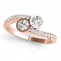 Diamond Pave Accented Bezel Set Two Stone Ring 14k Rose Gold (1.17ct)