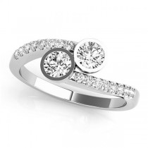 Diamond Pave Accented Bezel Set Two Stone Ring 14k White Gold (1.17ct)