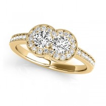 Diamond Double Halo Two Stone Ring 14k Yellow Gold (0.50ct)