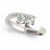 Diamond Solitaire Tension Two Stone Ring 14k White Gold (1.00ct)