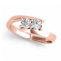 Diamond Solitaire Tension Two Stone Ring 14k Rose Gold (0.12ct)