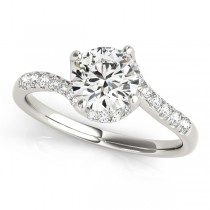 Diamond Twisted Engagement Ring 18k White Gold (1.00ct)