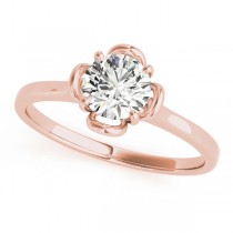 Diamond Solitaire Floral Engagement Ring 18k Rose Gold (0.33ct)