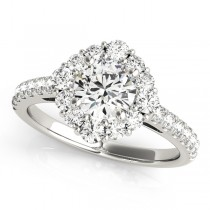 Diamond Halo East West Engagement Ring 14k White Gold (1.32ct)