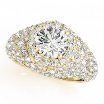 Wide DIamond Halo Fancy Engagement Ring 14k Yellow Gold (2.66ct)