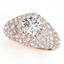 Wide DIamond Halo Fancy Engagement Ring 18k Rose Gold (2.66ct)