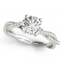 Diamond Twist Sidestone Accented Engagement Ring 14k White Gold (1.11ct)