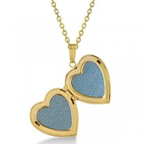 Ladies Heart Photo Locket w/ Diamond Accent in 14k Yellow Gold 0.02ct