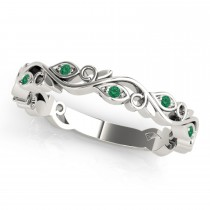 Emerald Leaf Fashion Ring Wedding Band 14k White Gold (0.05ct)