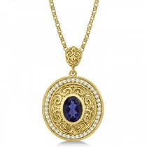 Vintage Diamond Iolite Pendant Necklace in 14k Yellow Gold (1.75ct)