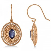 Diamond Accented Iolite Drop Earrings in 14k Rose Gold (1.33ct)